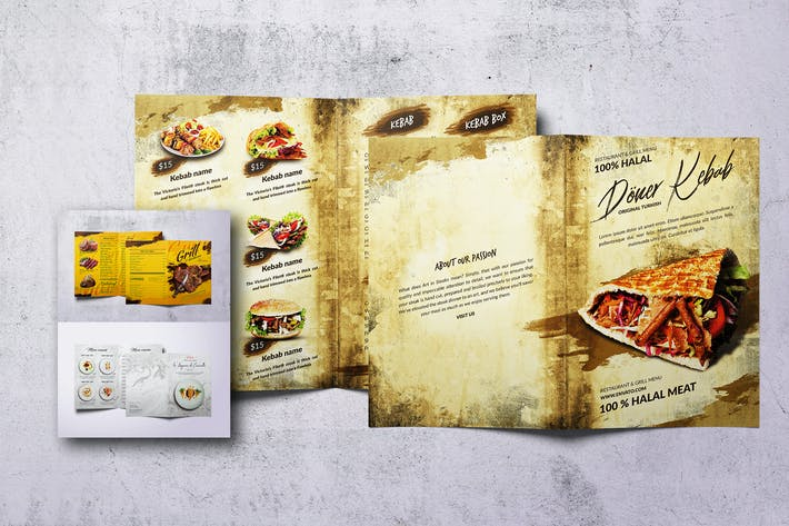 Thumbnail for Different Countries Bifold Food Menu Bundle
