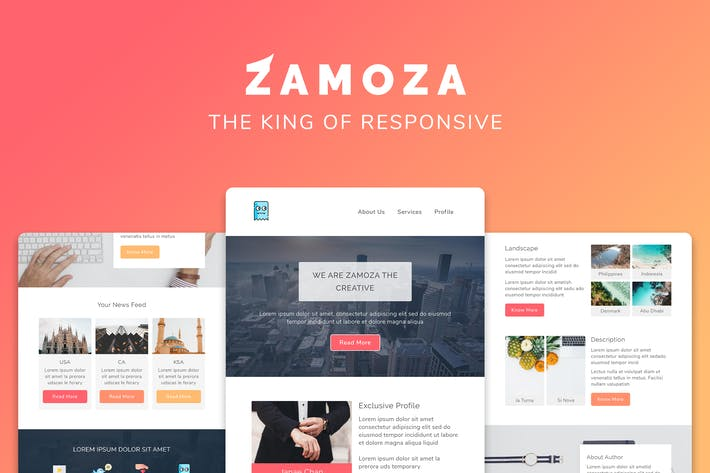Cover Image For Zamoza Responsive Multipurpose Email Template