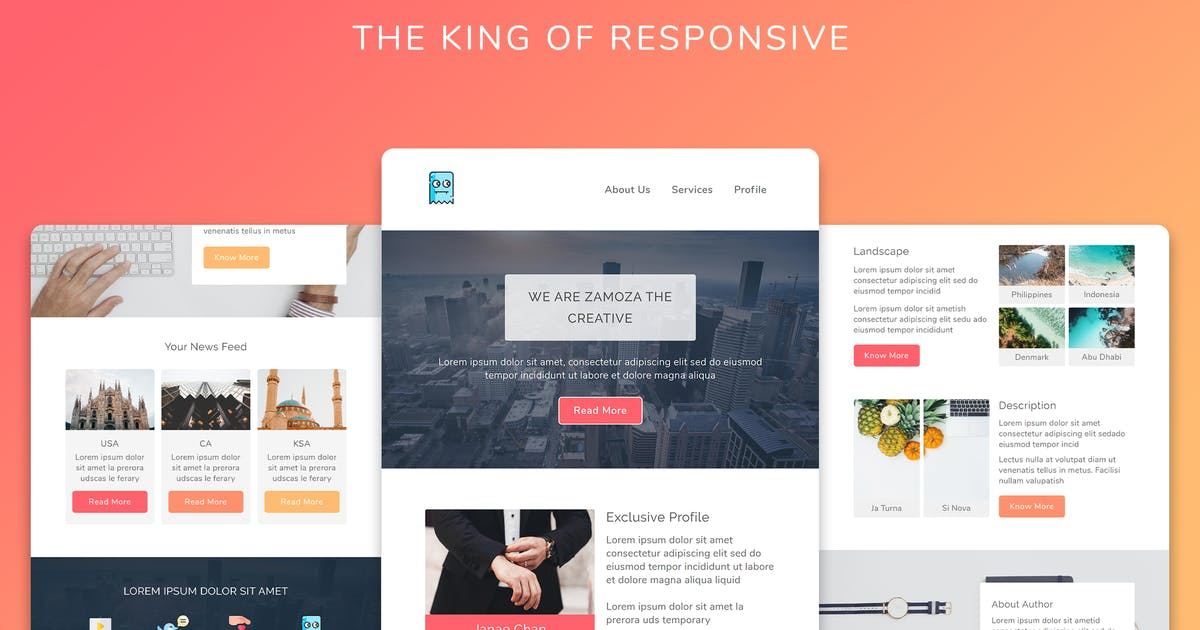 Download Zamoza Responsive Multipurpose Email Template by Avagon