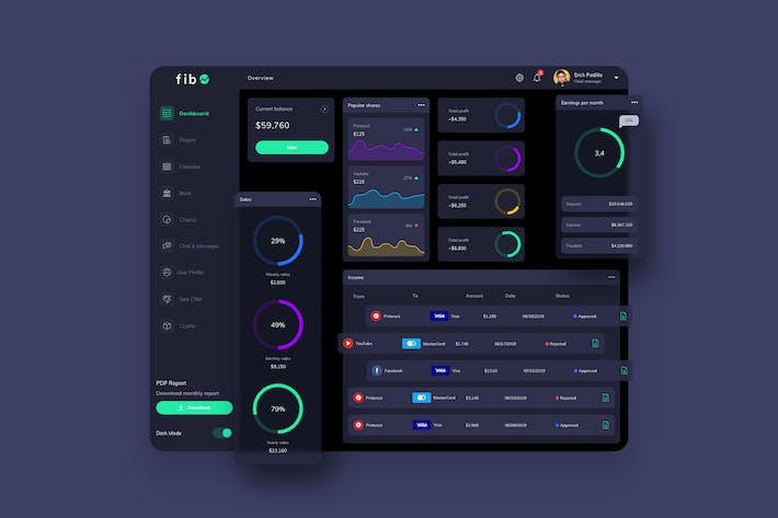 Thumbnail for fib Finance Dashboard Ui Dark - P
