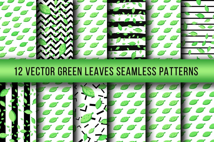 Green Leaves Seamless Patterns
