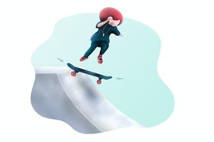 Skateboarding Little Girl - Illustration