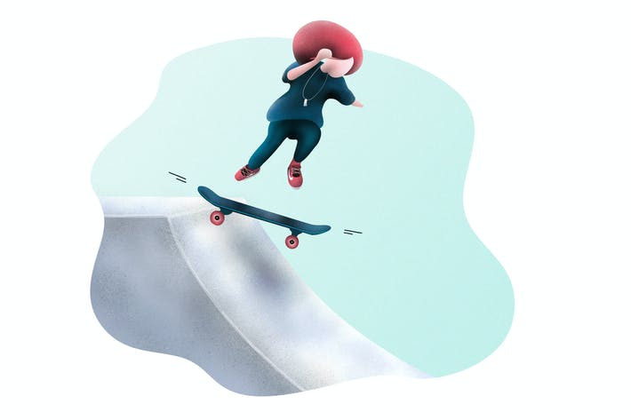 Thumbnail for Skateboarding Little Girl - Illustration