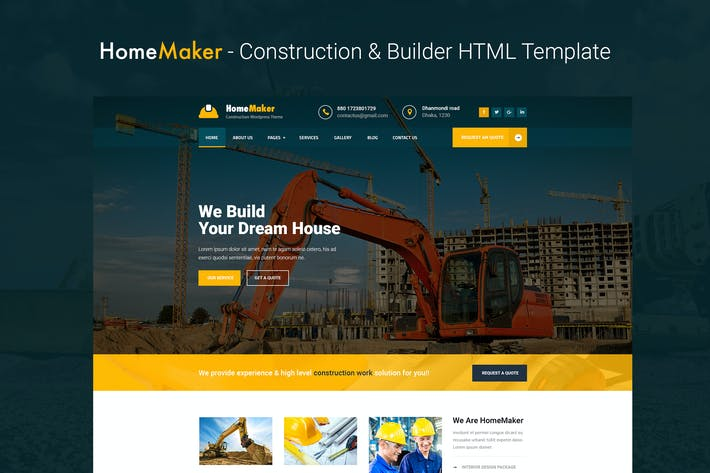 Thumbnail for HomeMaker - Construction & Builder HTML Template