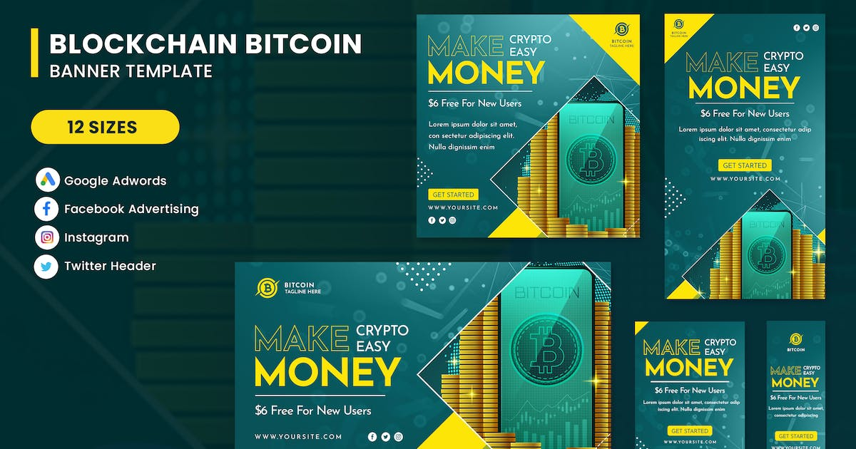 Download Bitcoin Cryptocurrency Banner Ads Set Template by nanoagency