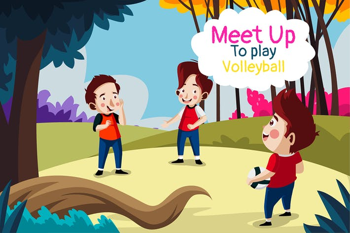 Thumbnail for Meet up volleyball - Illustration