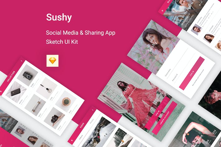 Thumbnail for Sushy - Social Media Ui Kit for Sketch App