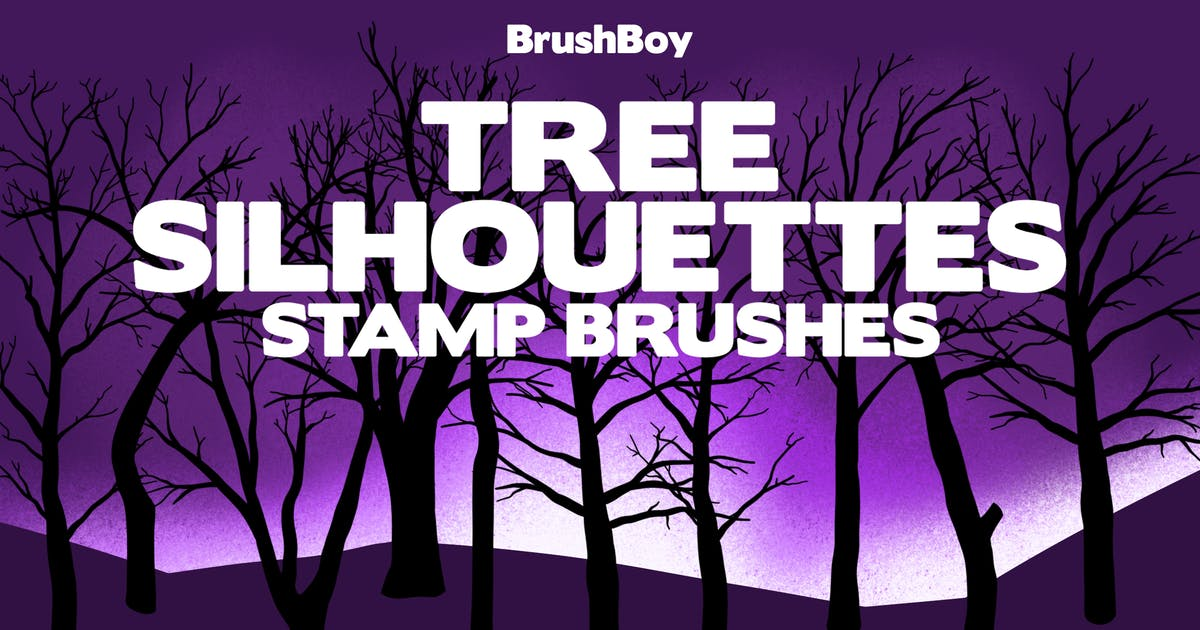 Download Procreate Tree Silhouette Stamp Brushes by BrushBoy