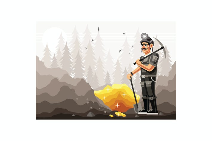 Thumbnail for Gold Miner Character Graphics Vector Illustration