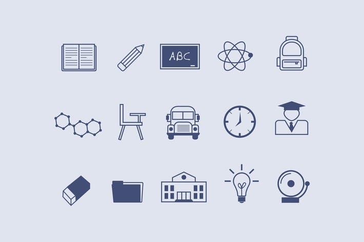 Thumbnail for 12 School and Academic Icons