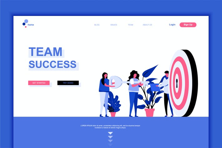 Thumbnail for Team Success Flat Landing Page Template