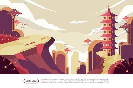 Japanese Pagoda - Famous Landmark Illustration