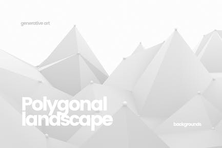Polygonal Landscape with Connected Dots Background