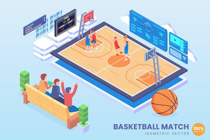 Isometric Basketball Match Vector Concept