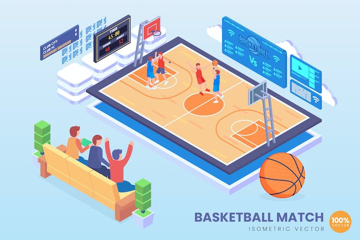Thumbnail for Isometric Basketball Match Vector Concept