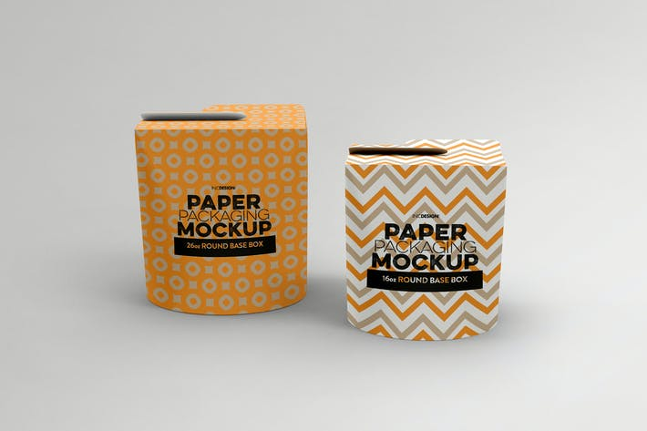 Thumbnail for Paper Round Base Box 16/26oz Packaging Mockups