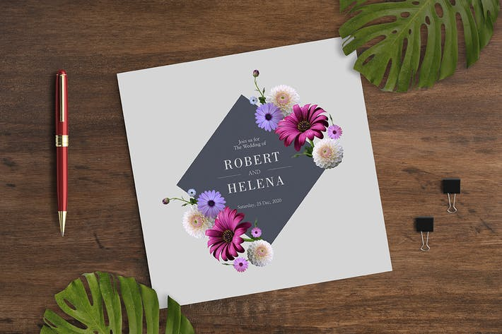 Thumbnail for Floral Wedding Invitation Card