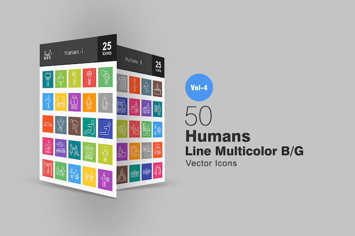 Thumbnail for 50 Humans Line Multicolor Icons