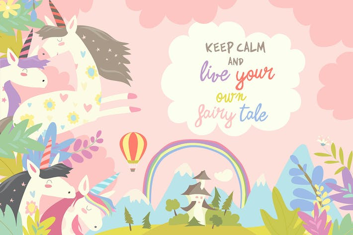 Thumbnail for Cute magic unicorns and castle. Vector