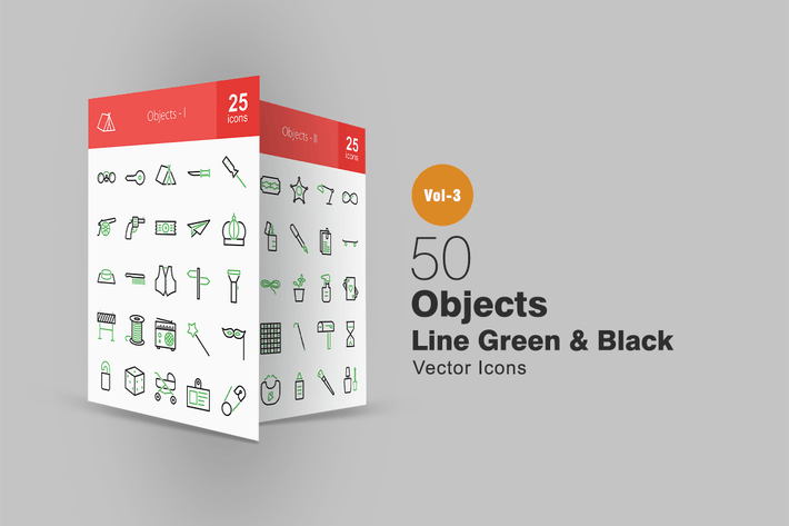 Thumbnail for 50 Objects Line Green & Black Icons