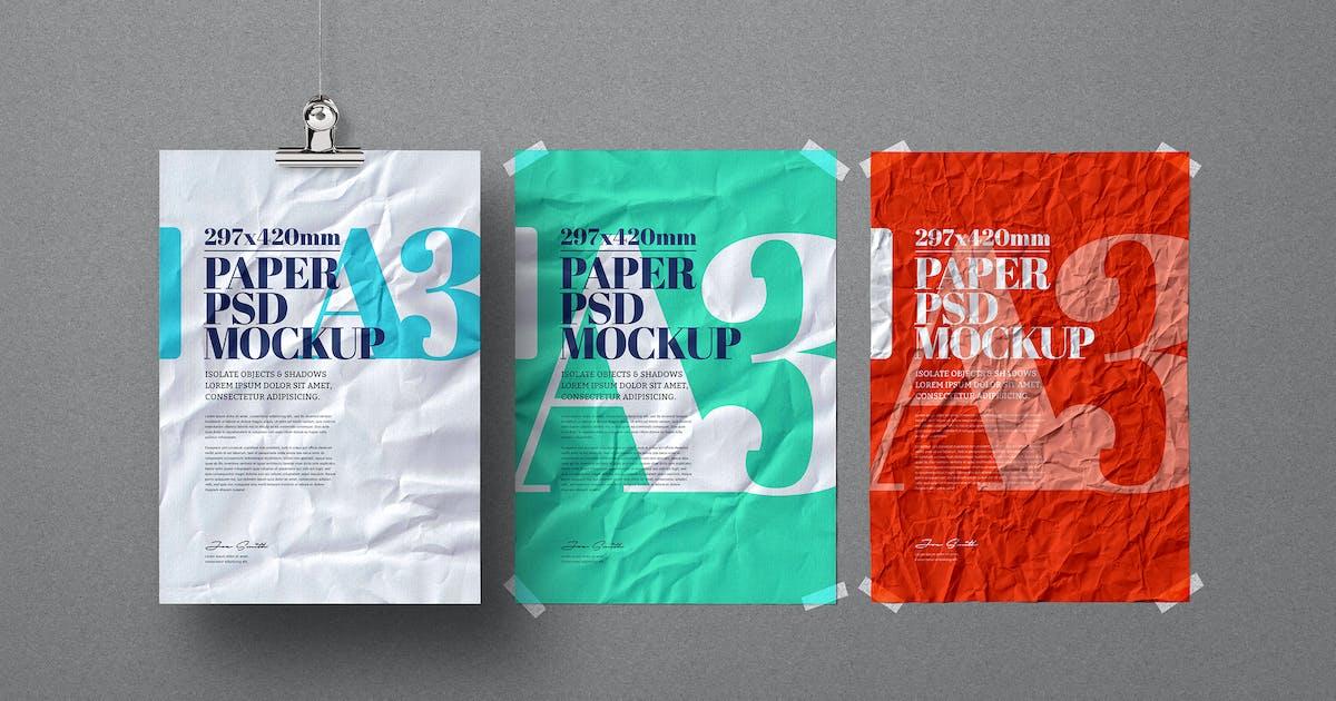 Download A3 Flyer Poster Mockup Crumpled Hanging Adhesive by Easybrandz-AvelinaStudio
