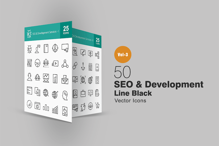 Cover Image For 50 SEO & Development Line Icons
