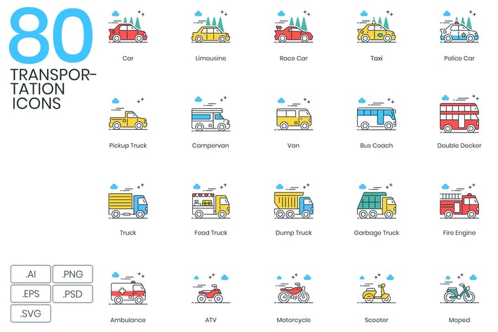 Thumbnail for 80 Transportation Modern Icons