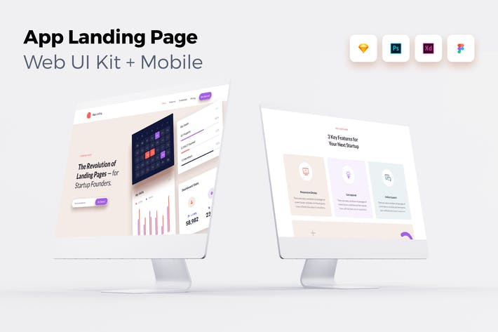 Thumbnail for iOS App Landing Page - Web UI Kit + Mobile - 3