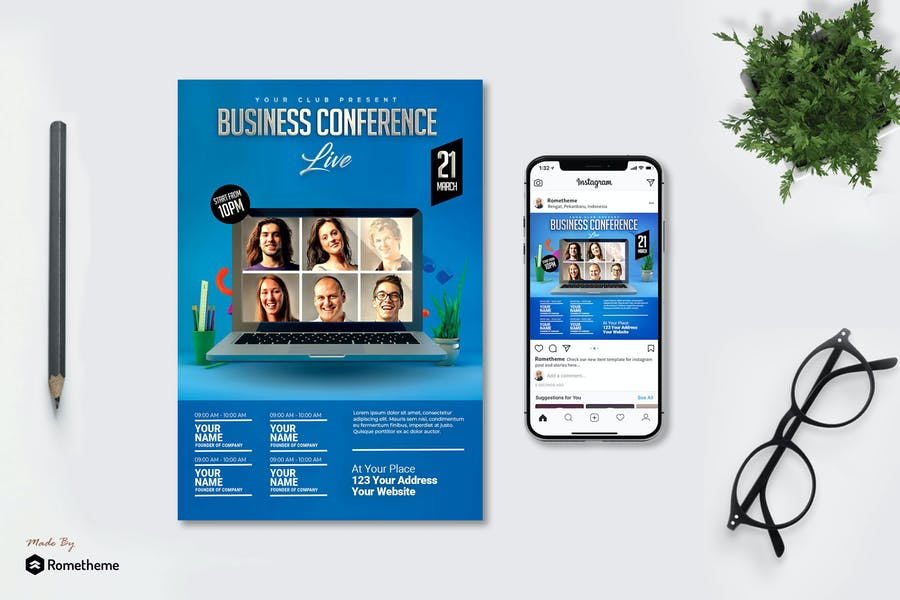 Business - Conference Flyer and Instagram Post MR