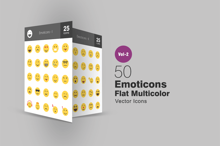 50 Emoticons Flache Multicolor Icons