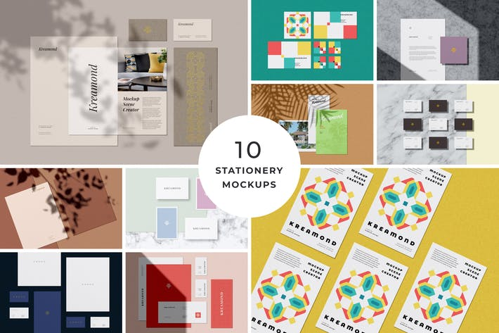 Thumbnail for 10 Stationery Mockups Pack