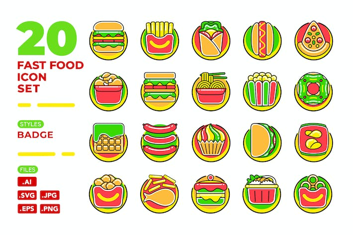 Thumbnail for Fast Food Icon Set (Badge)