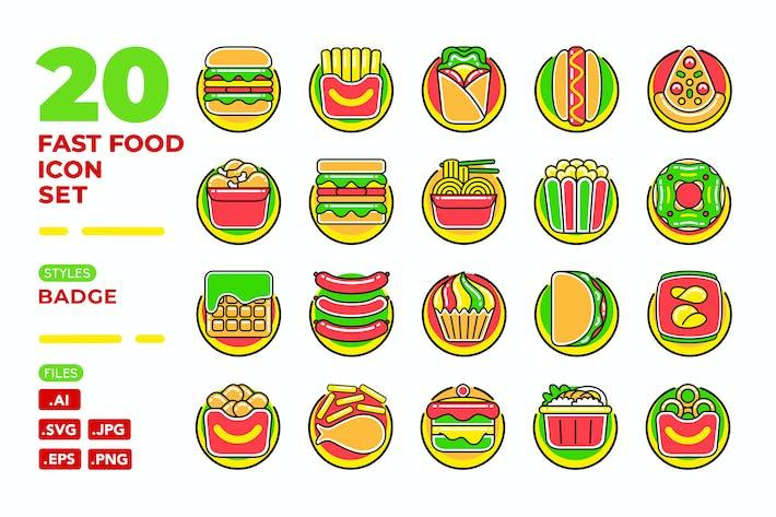 Thumbnail for Fast Food Icon Set (Abzeichen)