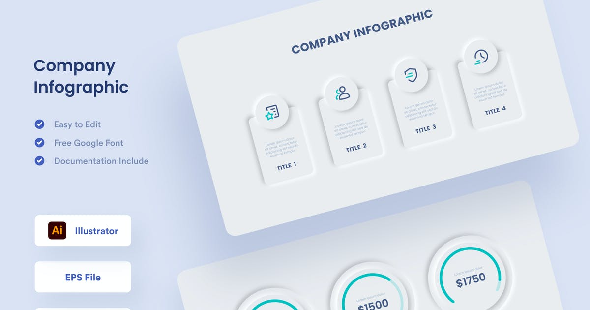 Download Company Neumorphism Infographic - Muzitemp by GranzCreative
