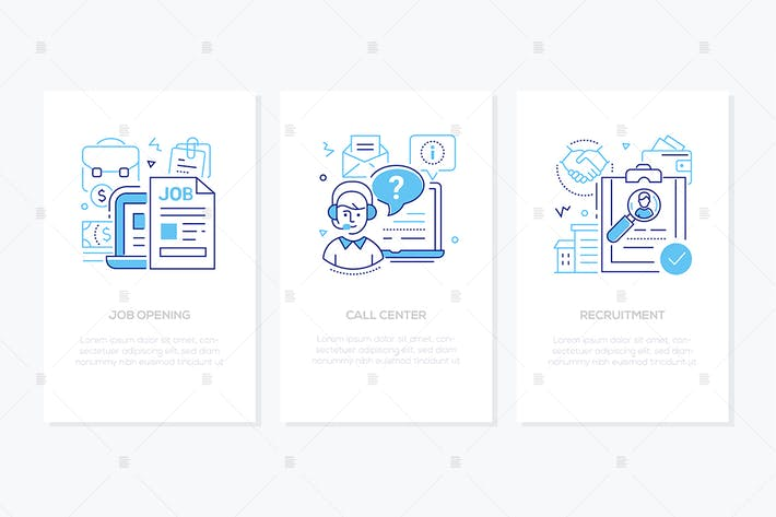 Thumbnail for HR management - line design style banners set
