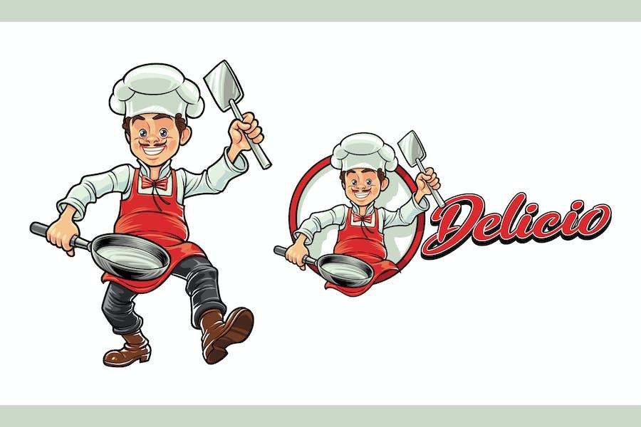 Cartoon Cheerful Chef Character Mascot Logo