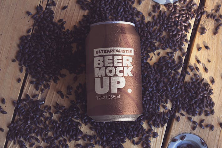 Thumbnail for Black Malt Beer Can Mockup