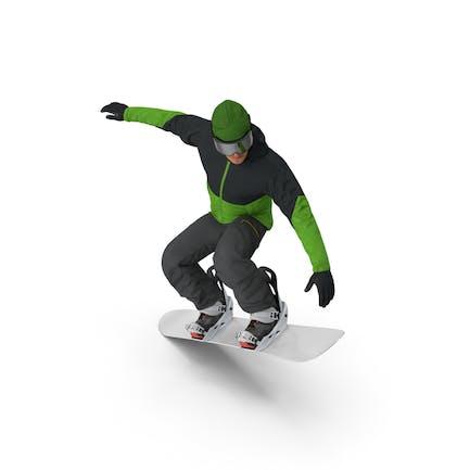 Snowboarder Jump Flight Stunt