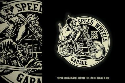 vintage logo of motorcycle garage