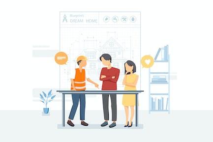 Buyers & construction worker working on blueprint