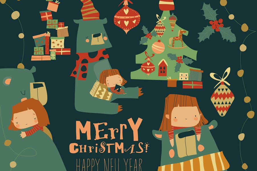 Мультфильм Рождество набор с маленькой девочкой и медведем.