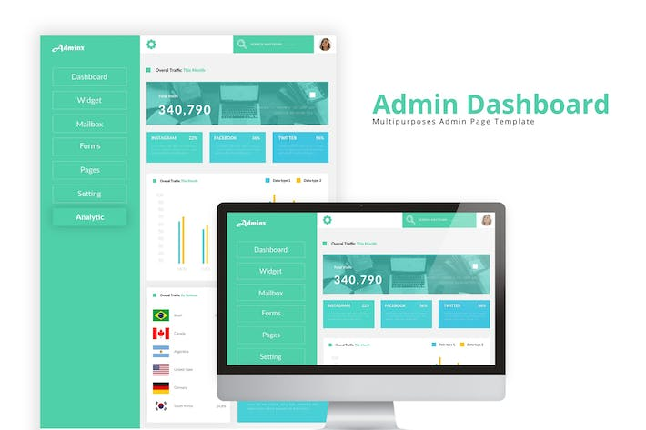 Thumbnail for Green Dashboard Admin Template