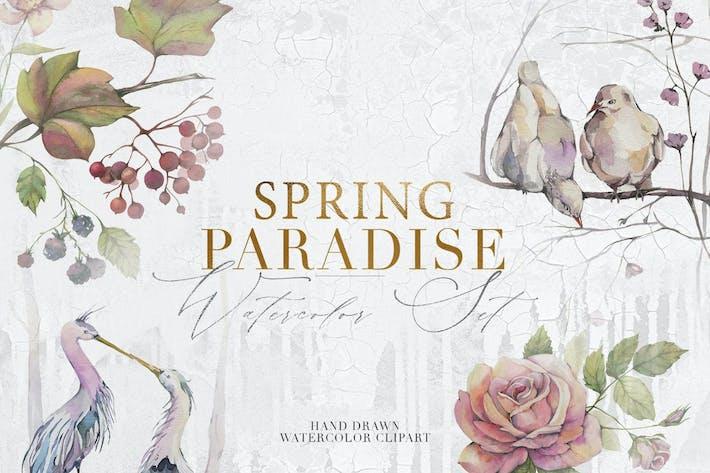 Spring Paradise Aquarell Clipart Set