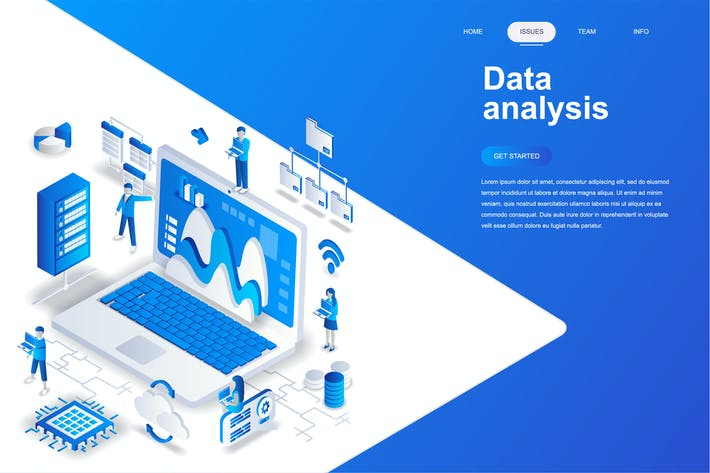 Cover Image For Data Analysis Isometric Concept