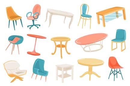 Conjunto de elementos aislados de muebles