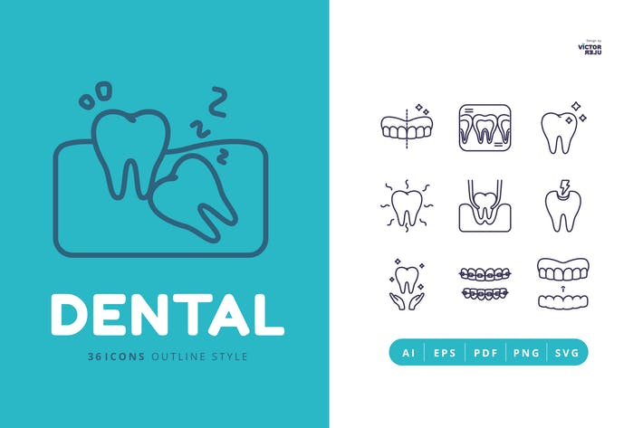 Thumbnail for 36 Dental Outline Style Icons