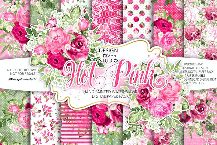 Thumbnail for Watercolor HOT PINK digital paper pack