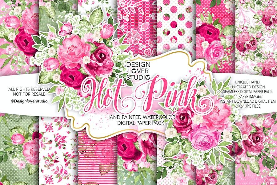 Watercolor HOT PINK digital paper pack