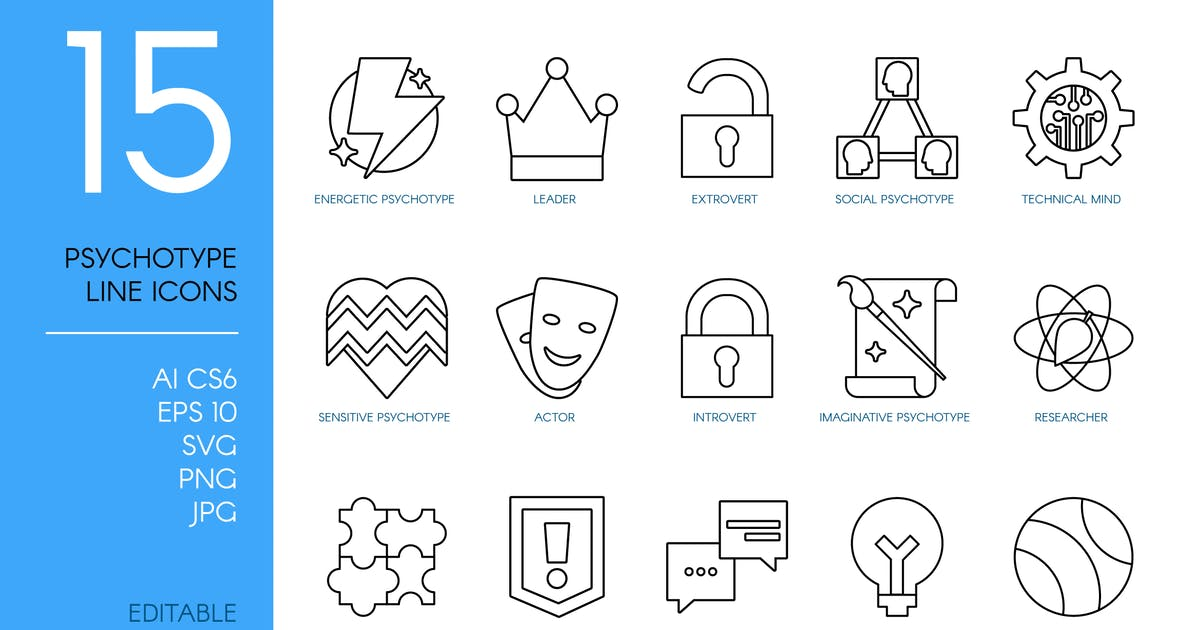 Download Personality Psychotypes Line Icons Set by barsrsind