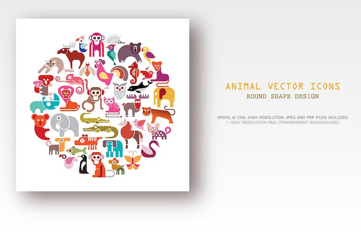 Thumbnail for Animal vector icon set